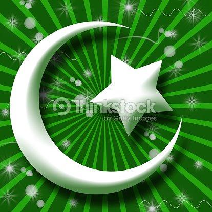 White Islam Symbol In Green Burst And Sparkle Stock Photo Thinkstock