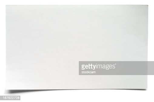 White isolated blank index card
