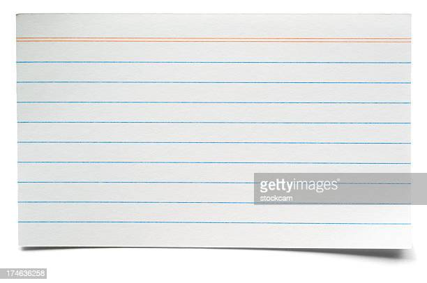 White isolated lined index card