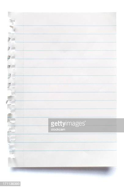 White isolated sheet of blank lined paper