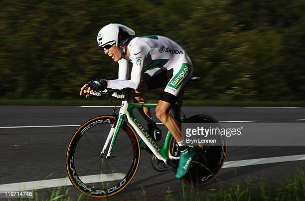 White jersey holder Pierre Rolland of France and Team Europcar in action during stage twenty of the 2011 Tour de France a 425km time trial from...
