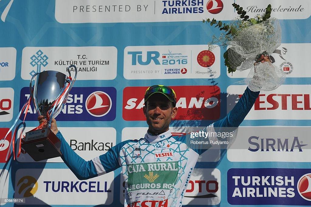 White Jersey winner Luis Mas Bonet of Caja Rural-Seguros RGA celebrates on the podium during Stage 8 of the 2016 Tour of Turkey, Marmaris to Selcuk (201.5 km) on May 1, 2016 in Marmaris, Turkey.