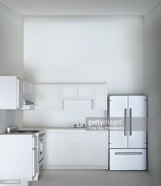 White kitchen in model house