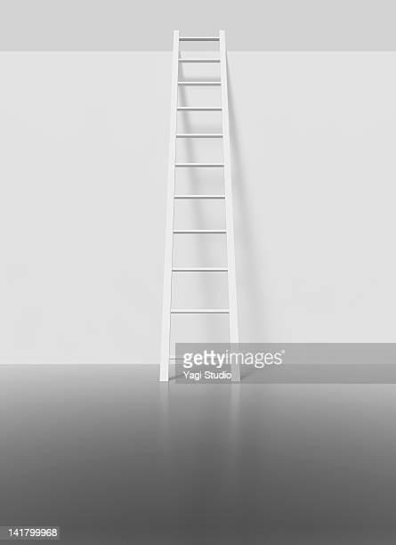 White ladder on a white wall