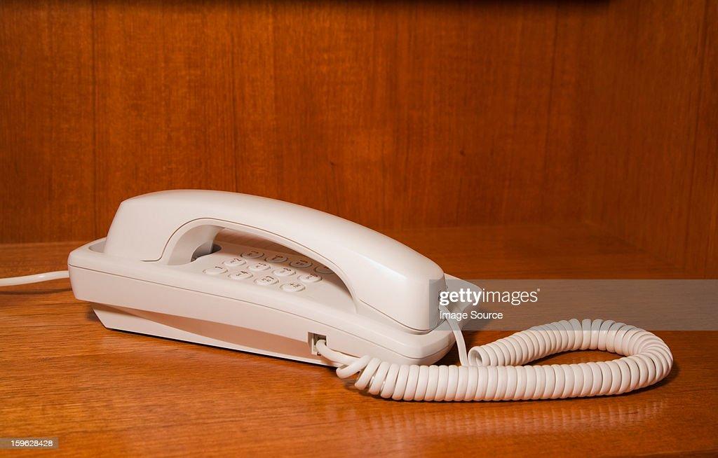 White landline telephone
