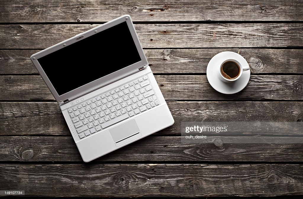 White Laptop And Coffee Cup On Wooden Table : Stock Photo Awesome Ideas