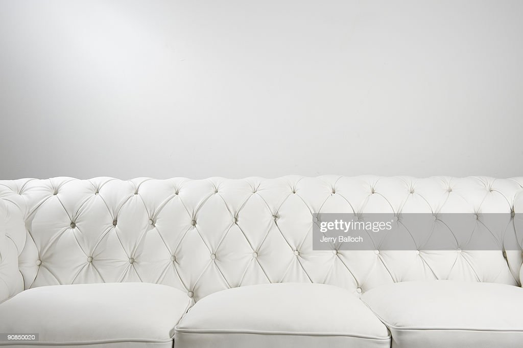 White leather couch : Stock Photo
