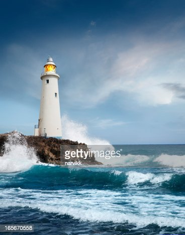 White lighthouse on the cliff