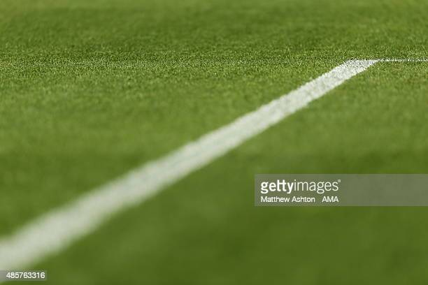 White line on the grass pitch during the Sky Bet Championship match between Sheffield Wednesday and Middlesbrough at Hillsborough on August 29 2015...