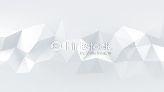 White low poly rumpled 3D surface abstract render : Foto de stock