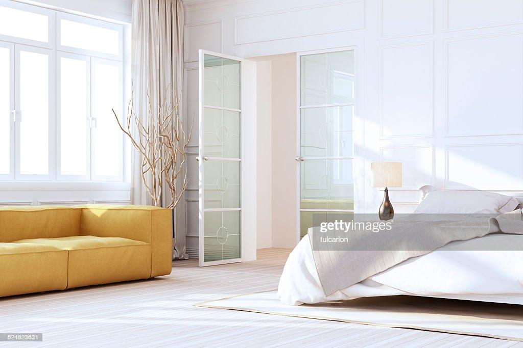 Blanc intérieur de la chambre à coucher de luxe : Photo
