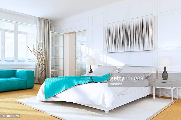 ホワイトの豪華なベッドルームのインテリア