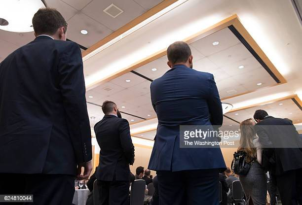 White male listen to panelists at an Alt Right conference hosted by the National Policy Institute in Washington DC on November 18 2016 The think tank...