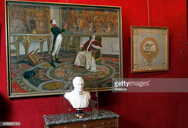 A white marble bust of Napoleon Bonaparte from the Napoleonic collection of the Palais de Monaco is displayed on November 12 2014 in Fontainebleau...
