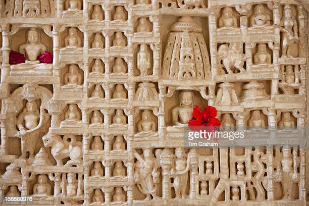 White marble religious icon carvings at The Ranakpur Jain Temple at Desuri Tehsil in Pali District of Rajasthan India