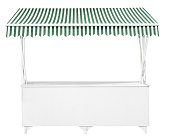 This is an empty white stand with green striped awning.
