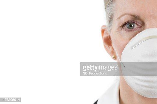 White Mask Woman Staring Straight Forward