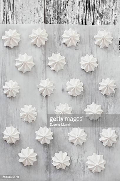 White meringues on table