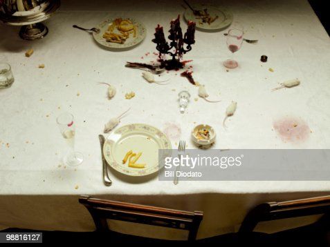 White Mice on a Dining Room table  : Stock Photo