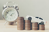 White miniature car on money coin stack growth with clock