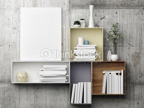 White Mock Up Poster On Bookshelf Stock Photo