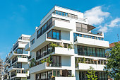 White modern apartment house seen in Berlin, Germany