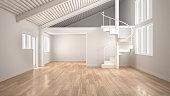 White modern empty interior, open space with mezzanine and minimalist spiral staircase, concept design background