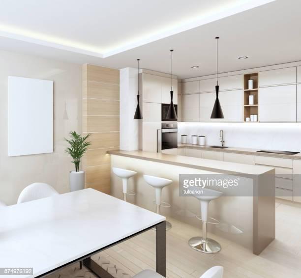 Cuisine moderne intérieure blanc avec des panneaux en bois légers et avec table et chaises