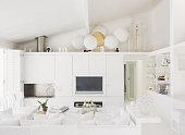 White, modern living room
