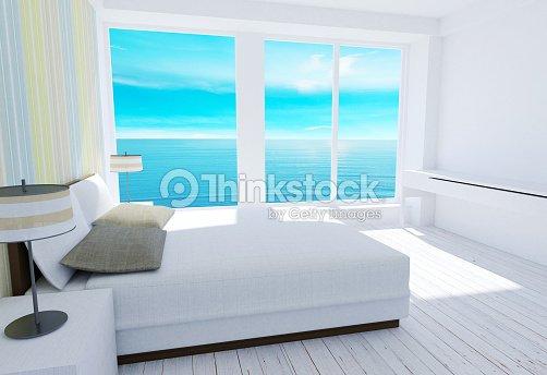 Weiße Modernes Loftschlafzimmer Interieur Mit Blick Aufs ...
