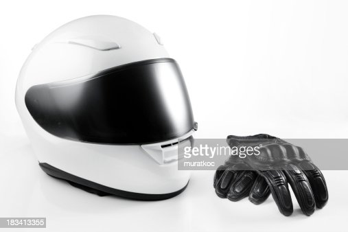 White Motorcycle Helmet and Leather Gloves