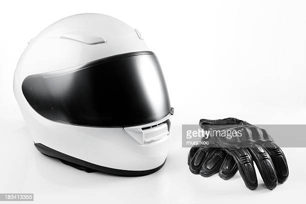Capacete de motocicleta branco e Leather Gloves