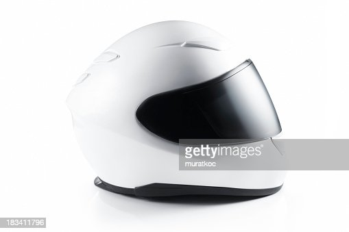 A white motorcycle helmet on a white background