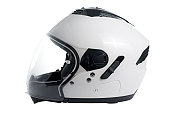 White, shiny motorcycle helmet isolated