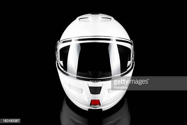 Casco da motociclista bianca