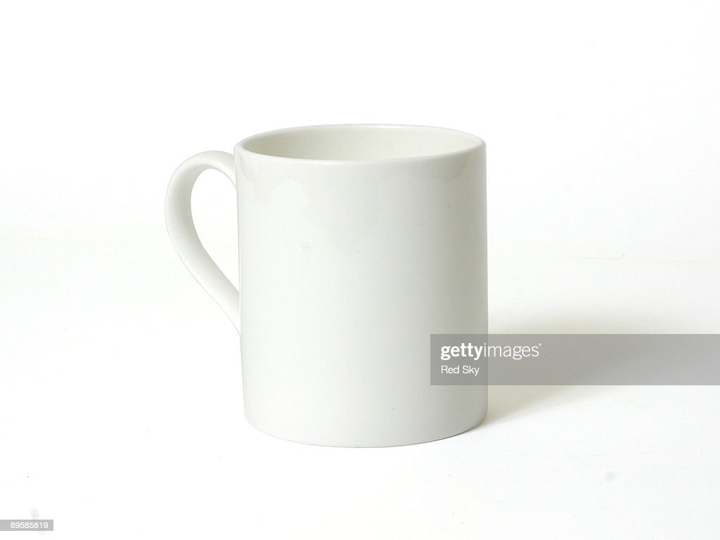 A white mug on a white background