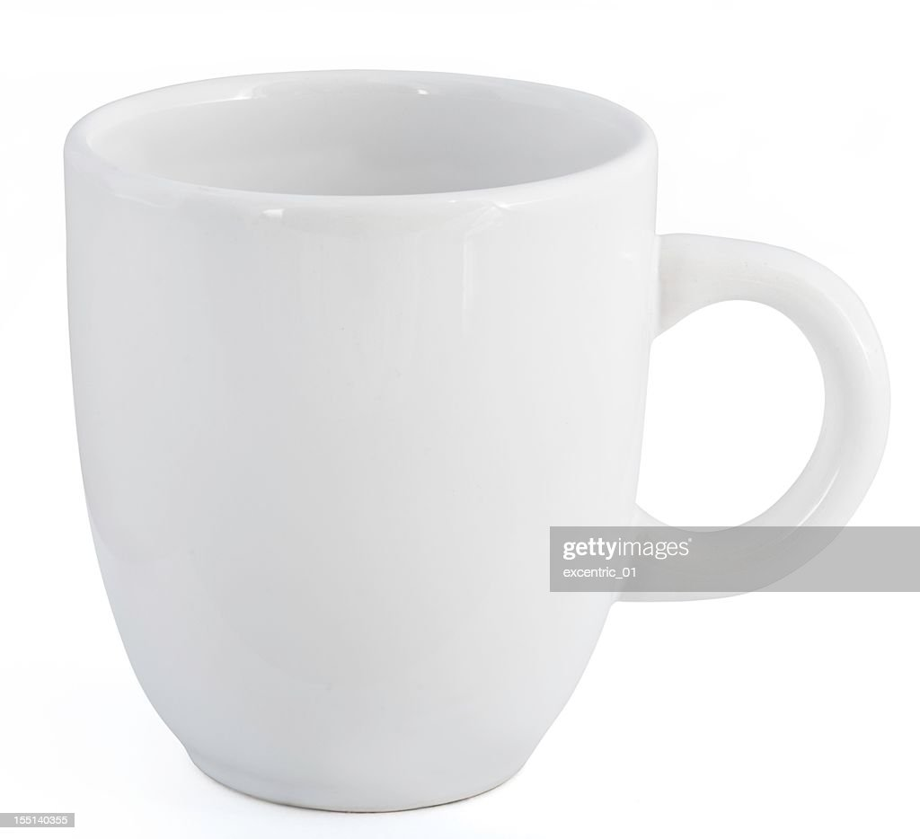 white mug with clipping path and blank space for label