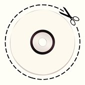 white music cd with dotted lines and scissors