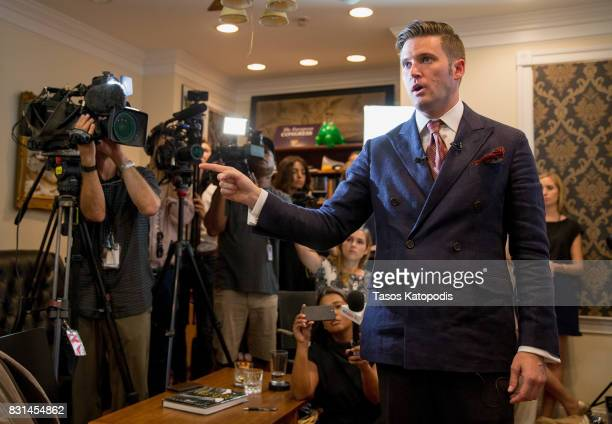White nationalist Richard Spencer speaks to select media in his office space on August 14 2017 in Alexandria Virginia Spencer head of the National...