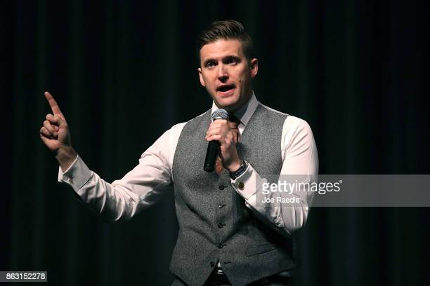 White nationalist Richard Spencer who popularized the term 'altright' speaks at the Curtis M Phillips Center for the Performing Arts on October 19...