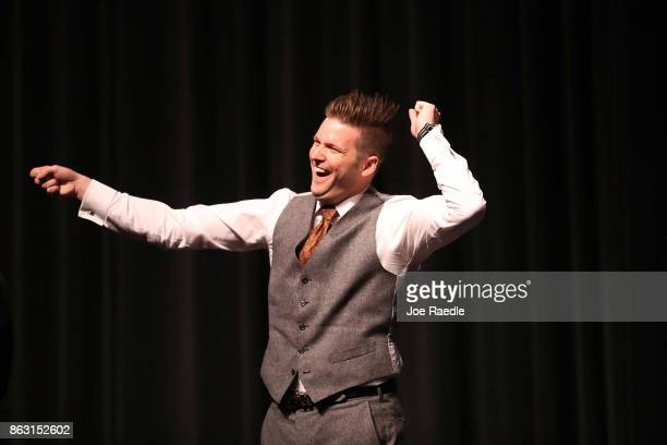 White nationalist Richard Spencer who popularized the term 'altright' reacts to the audience as he speaks at the Curtis M Phillips Center for the...