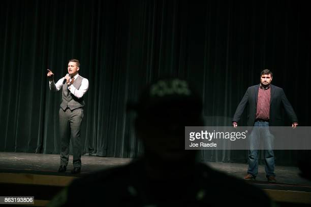 White nationalist Richard Spencer who popularized the term 'altright' and Mike Enoch speak at the Curtis M Phillips Center for the Performing Arts on...