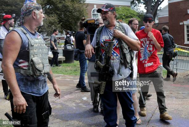 White nationalists neoNazis the KKK and members of the 'altright' attempt to organize inside Emancipation Park during the Unite the Right rally...