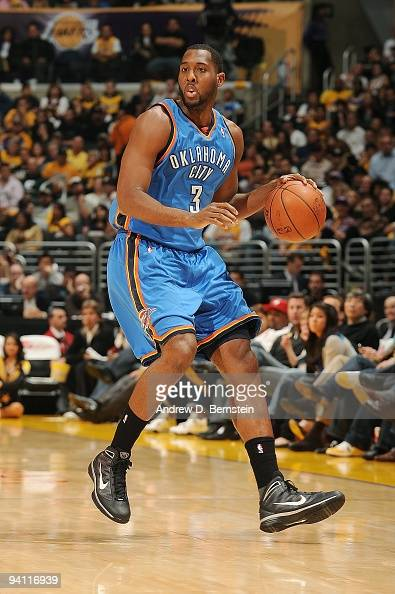 J White of the Oklahoma City Thunder moves the ball up court during the game against the Los Angeles Lakers on November 22 2009 at Staples Center in...