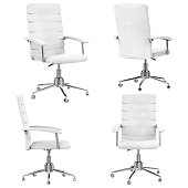 white office chair in four angle isolated on white