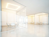 Office interior with meeting rooms panoramic windows