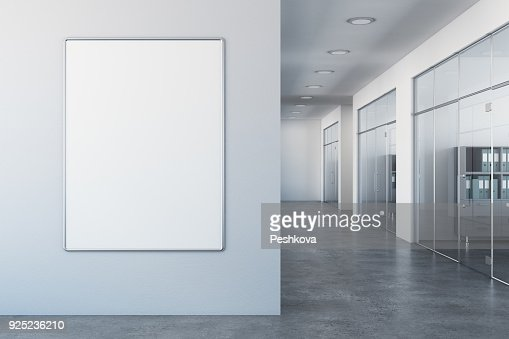White office with empty billboard : Stock Photo