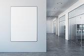 White office interior with empty billboard on wall. Mock up, 3D Rendering