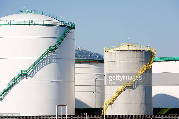 White oil and chemical storage tanks