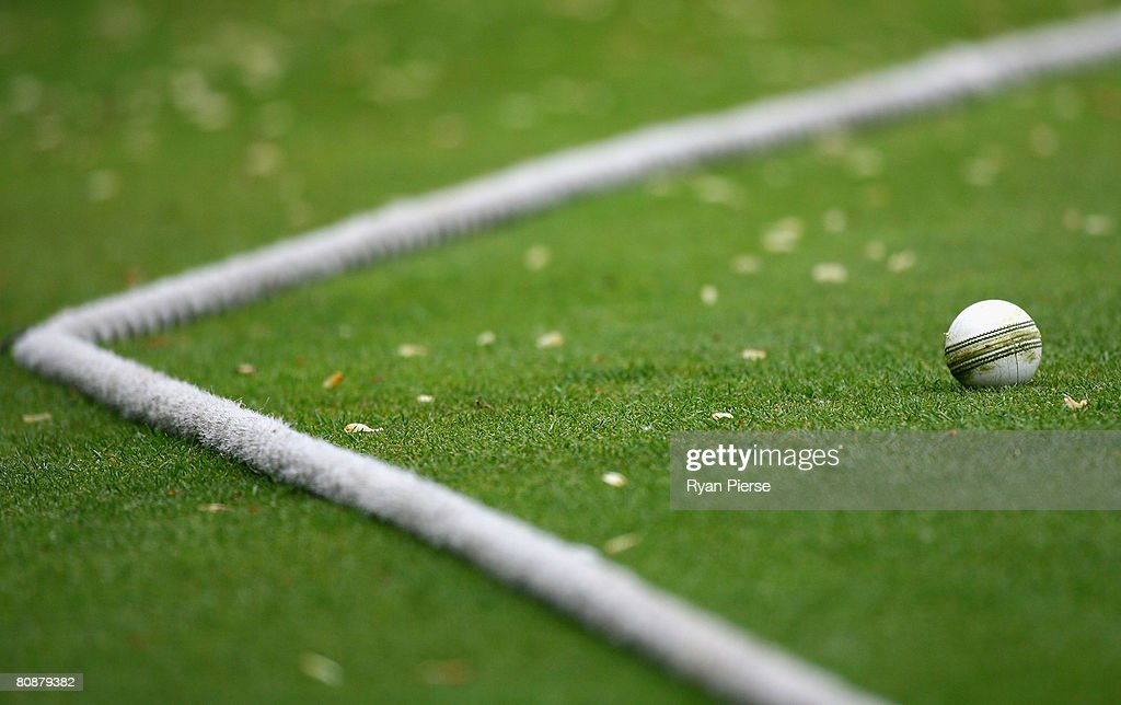 A white One Day Match ball rests near the boundary rope during the Friends Provident Trophy match between Essex and Sussex at The County Ground on...